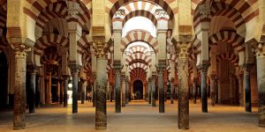 Spain, Andalusia, Cordoba, praying hall inside the Mezquita (Mosque cathedral) Andalusia Arab Civilization Architecture Building cathedral Church Civilization colonnade Column Cordova Europe historical religions History Horizontal Indoors Landmark Monument Mosque No People Religion religions Religious Religious building Spain the Arabian Andalusian architecture UNESCO World Heritage Site