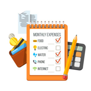 67653581 - monthly expenses planning checklist with receipts, wallet and calculator. flat style vector icon illustration.